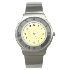 Yellow Pattern Stainless Steel Watch by Valentinaart