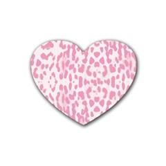 Leopard Pink Pattern Rubber Coaster (heart)  by Valentinaart