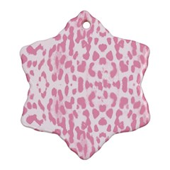 Leopard Pink Pattern Ornament (snowflake) by Valentinaart
