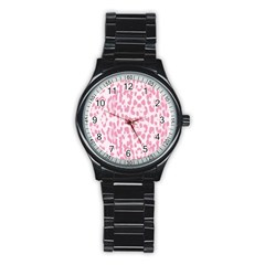 Leopard Pink Pattern Stainless Steel Round Watch by Valentinaart