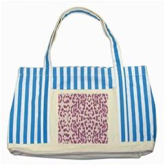 Purple Leopard Pattern Striped Blue Tote Bag by Valentinaart