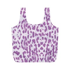 Purple Leopard Pattern Full Print Recycle Bags (m)  by Valentinaart