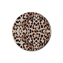 Leopard Pattern Rubber Coaster (round)  by Valentinaart