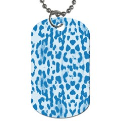 Blue Leopard Pattern Dog Tag (two Sides) by Valentinaart