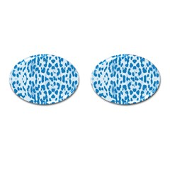 Blue Leopard Pattern Cufflinks (oval) by Valentinaart