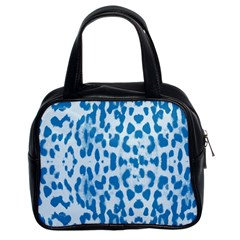 Blue Leopard Pattern Classic Handbags (2 Sides) by Valentinaart