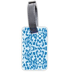 Blue Leopard Pattern Luggage Tags (one Side)  by Valentinaart