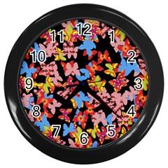 Butterflies Wall Clocks (black) by Valentinaart