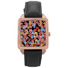 Butterflies Rose Gold Leather Watch  by Valentinaart
