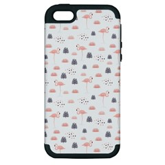 Cute Flamingos And  Leaves Pattern Apple Iphone 5 Hardshell Case (pc+silicone) by TastefulDesigns