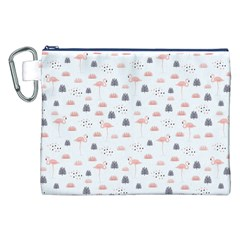 Cute Flamingos And  Leaves Pattern Canvas Cosmetic Bag (xxl) by TastefulDesigns
