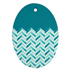 Zigzag Pattern In Blue Tones Ornament (oval) by TastefulDesigns