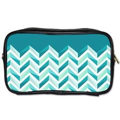 Zigzag Pattern In Blue Tones Toiletries Bags 2 Side by TastefulDesigns