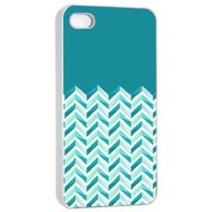 Zigzag Pattern In Blue Tones Apple Iphone 4/4s Seamless Case (white) by TastefulDesigns