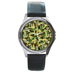 Camo Woodland Round Metal Watch by sifis