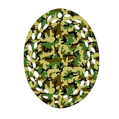 Camo Woodland Oval Filigree Ornament (two Sides) by sifis