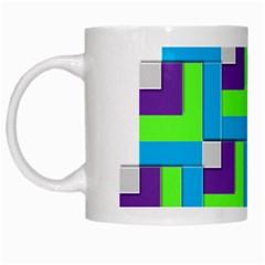 Geometric 3d Mosaic Bold Vibrant White Mugs by Amaryn4rt