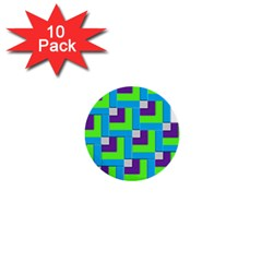 Geometric 3d Mosaic Bold Vibrant 1  Mini Buttons (10 Pack)  by Amaryn4rt