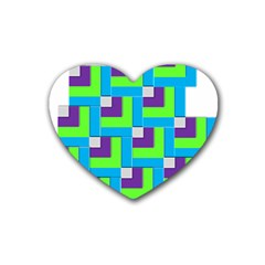 Geometric 3d Mosaic Bold Vibrant Rubber Coaster (heart)  by Amaryn4rt