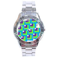 Geometric 3d Mosaic Bold Vibrant Stainless Steel Analogue Watch by Amaryn4rt