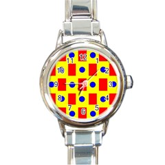 Pattern Design Backdrop Round Italian Charm Watch by Amaryn4rt