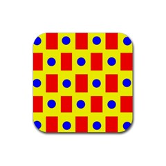Pattern Design Backdrop Rubber Square Coaster (4 Pack)  by Amaryn4rt