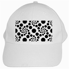 Dot Dots Round Black And White White Cap by Amaryn4rt