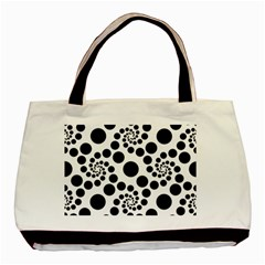 Dot Dots Round Black And White Basic Tote Bag (two Sides) by Amaryn4rt
