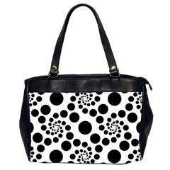 Dot Dots Round Black And White Office Handbags (2 Sides)  by Amaryn4rt