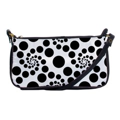 Dot Dots Round Black And White Shoulder Clutch Bags by Amaryn4rt