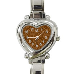 Brown Pattern Rectangle Wallpaper Heart Italian Charm Watch by Amaryn4rt