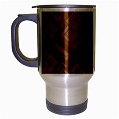 Brown Pattern Rectangle Wallpaper Travel Mug (silver Gray) by Amaryn4rt