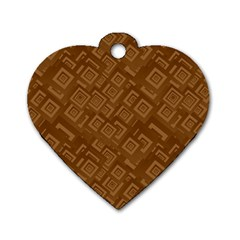 Brown Pattern Rectangle Wallpaper Dog Tag Heart (one Side)