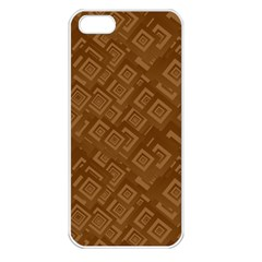 Brown Pattern Rectangle Wallpaper Apple Iphone 5 Seamless Case (white) by Amaryn4rt