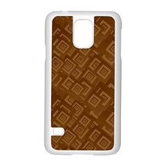 Brown Pattern Rectangle Wallpaper Samsung Galaxy S5 Case (white) by Amaryn4rt