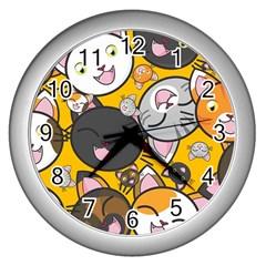 Cats Pattern Wall Clocks (silver)  by Valentinaart
