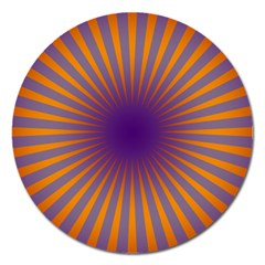 Retro Circle Lines Rays Orange Magnet 5  (round) by Amaryn4rt