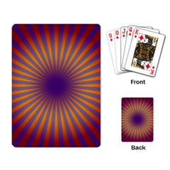 Retro Circle Lines Rays Orange Playing Card by Amaryn4rt