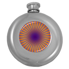 Retro Circle Lines Rays Orange Round Hip Flask (5 Oz) by Amaryn4rt