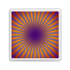 Retro Circle Lines Rays Orange Memory Card Reader (square)  by Amaryn4rt