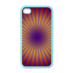 Retro Circle Lines Rays Orange Apple Iphone 4 Case (color) by Amaryn4rt