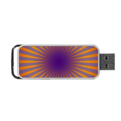 Retro Circle Lines Rays Orange Portable Usb Flash (two Sides) by Amaryn4rt