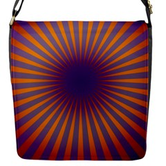 Retro Circle Lines Rays Orange Flap Messenger Bag (s) by Amaryn4rt