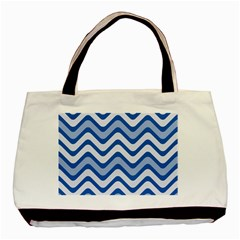 Waves Wavy Lines Pattern Design Basic Tote Bag (two Sides) by Amaryn4rt