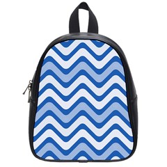 Waves Wavy Lines Pattern Design School Bags (small)  by Amaryn4rt