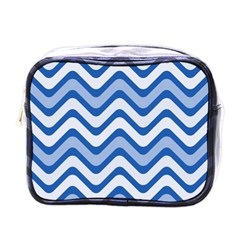 Waves Wavy Lines Pattern Design Mini Toiletries Bags by Amaryn4rt