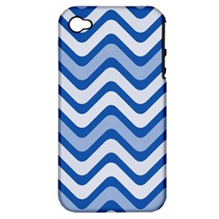 Waves Wavy Lines Pattern Design Apple Iphone 4/4s Hardshell Case (pc+silicone) by Amaryn4rt