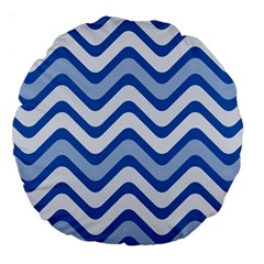 Waves Wavy Lines Pattern Design Large 18  Premium Round Cushions by Amaryn4rt