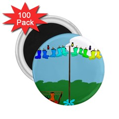 Welly Boot Rainbow Clothesline 2 25  Magnets (100 Pack)