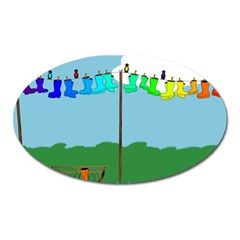 Welly Boot Rainbow Clothesline Oval Magnet by Amaryn4rt